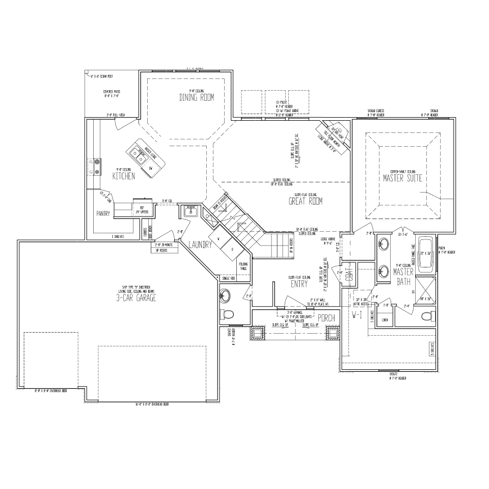 Glenbrooke ranch reverse 1 1 2 story bellah for Reverse ranch house plans